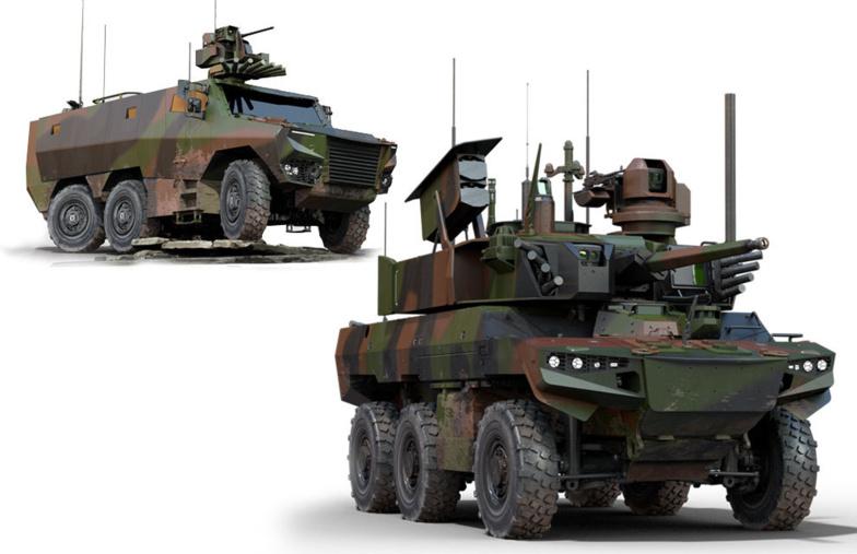 Le Jaguar (à droite) Nexter