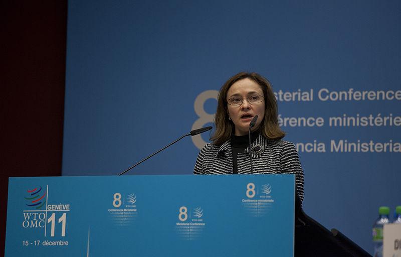 La Ministre russe du Commerce Elvira Nabiullina lors de la cérémonie d'intégration de la Russie à L'OMC