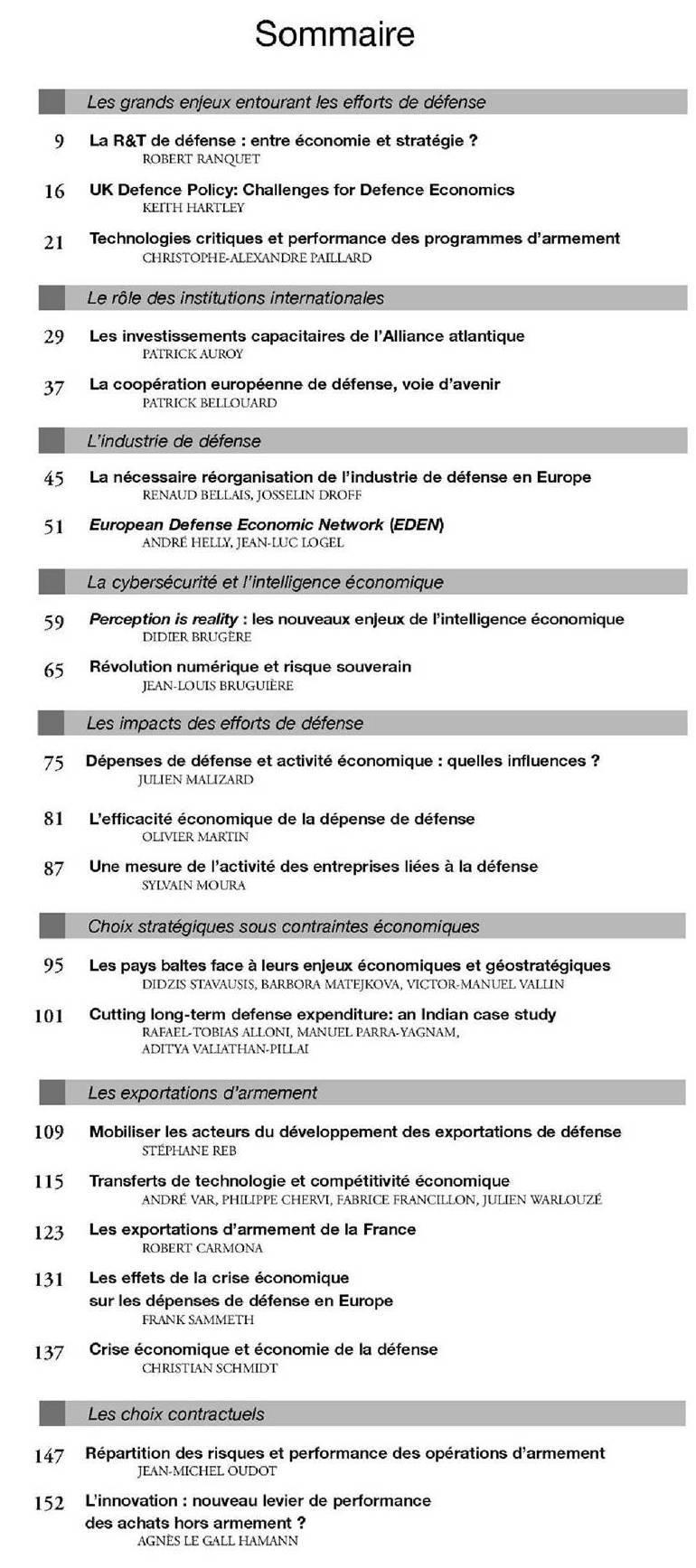 Les Cahiers de la Revue de la Défense nationale - Economie de Défense