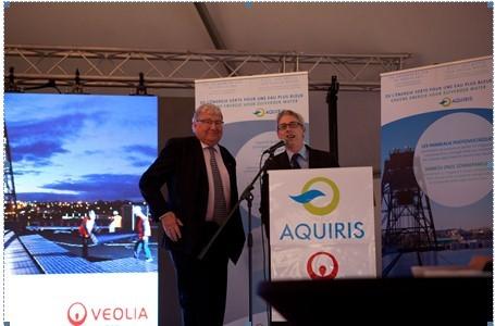Yvan Huyghebaert, nouveau Président du Conseil d'Administration d'Aquiris, en compagnie de Patrick Couzinet, Conseiller spécial du Directeur général de Veolia Eau.